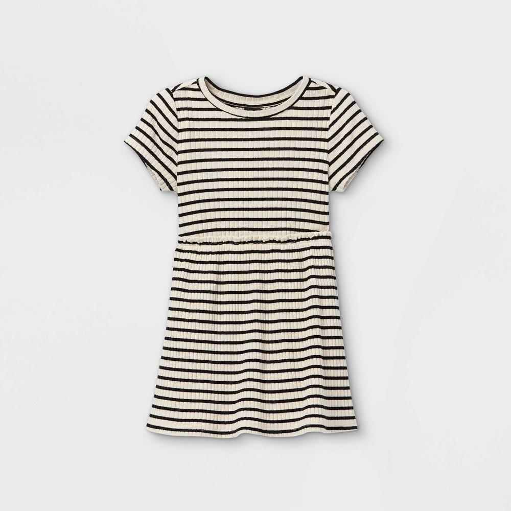 Toddler Girls 39 Rib Short Sleeve Dress Art Class 8482 Cream 12m