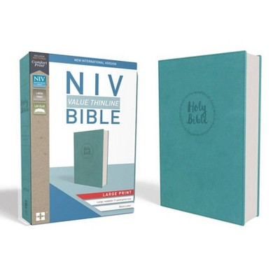 NIV, Value Thinline Bible, Large Print, Imitation Leather, Blue - by  Zondervan (Leather Bound)