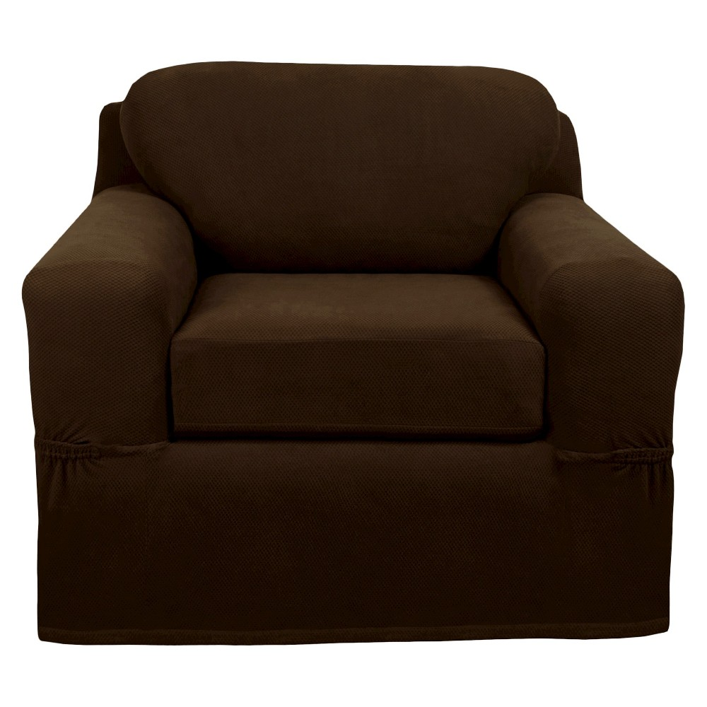 Image of Chocolate (Brown) Stretch Pixel Chair Slipcover (2 Piece) - Maytex