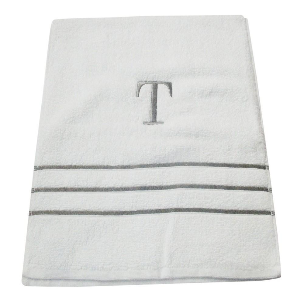 Monogram Hand Towel T - White/Skyline Gray - Fieldcrest