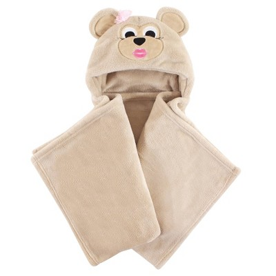 Hudson Baby Unisex Baby and Toddler Hooded Animal Face Plush Blanket - Miss Monkey One Size