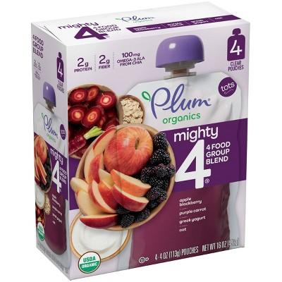 Plum Organics Mighty 4 Apple Blackberry Purple Carrot Greek Yogurt & Oat Baby Food Pouch - (Select Count)