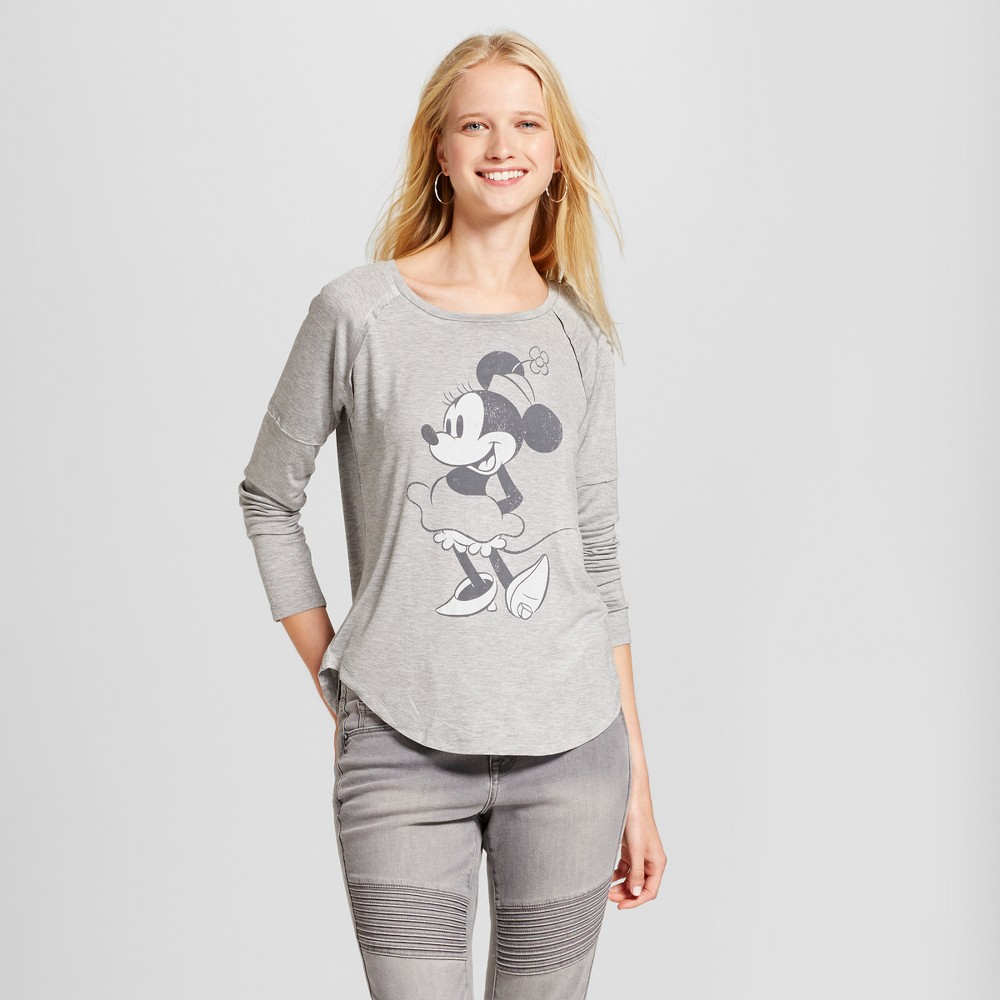 Women's Disney Minnie Mouse Long Sleeve Drapey Graphic T-Shirt (Juniors') - Gray Xxl