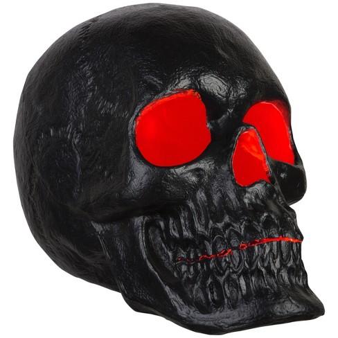 """Gemmy 20"""" Blow Mold Lighted Decor Candle Flicker Matte Black Skull, black - image 1 of 4"""