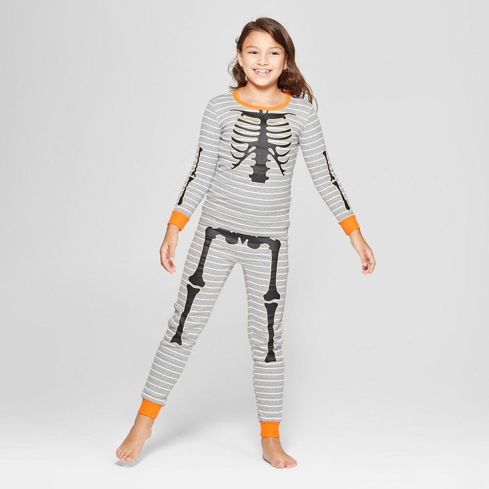 Snooze Button Kid's Skeleton Pajama Set - Gray 10, Kids Unisex