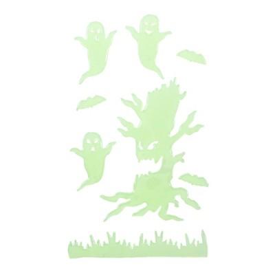 Northlight Glow in the Dark Evil Tree and Ghosts Halloween Gel Window Clings
