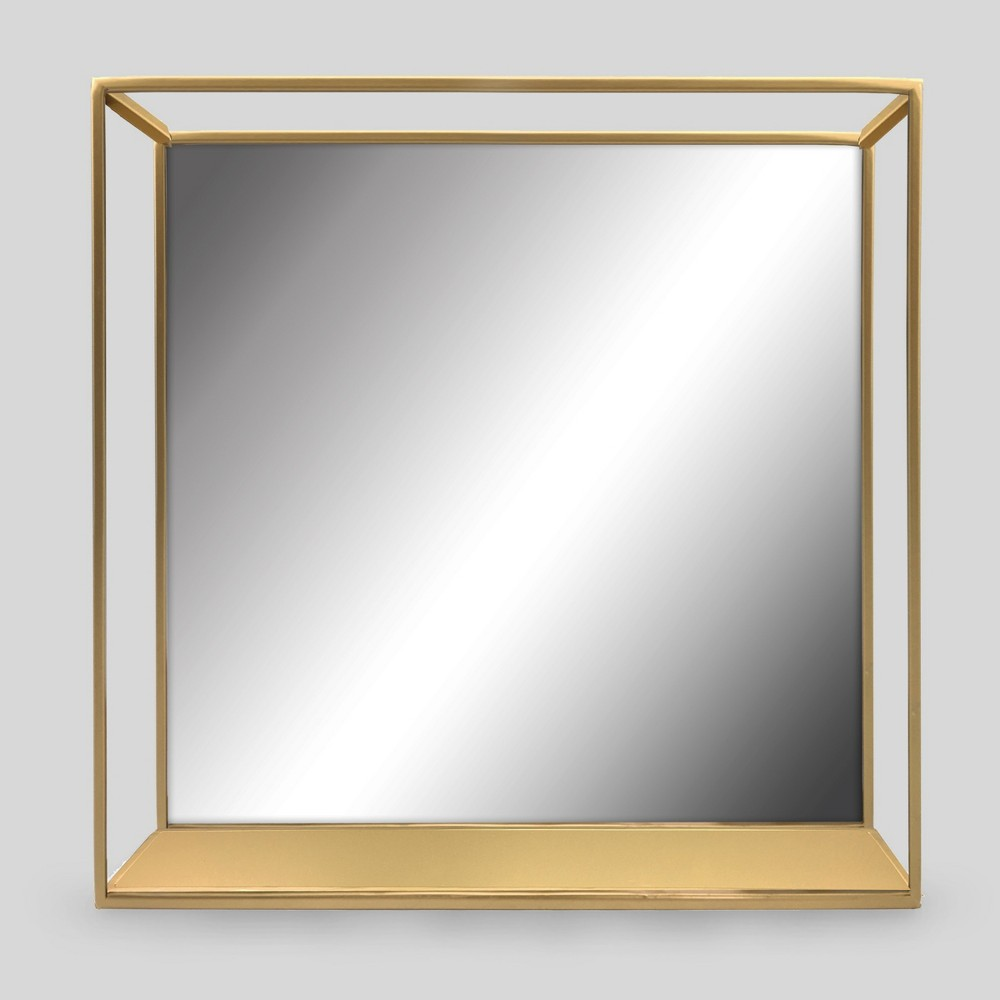 Decorative Wall Mirror and Shelf Brass - Project 62, Black