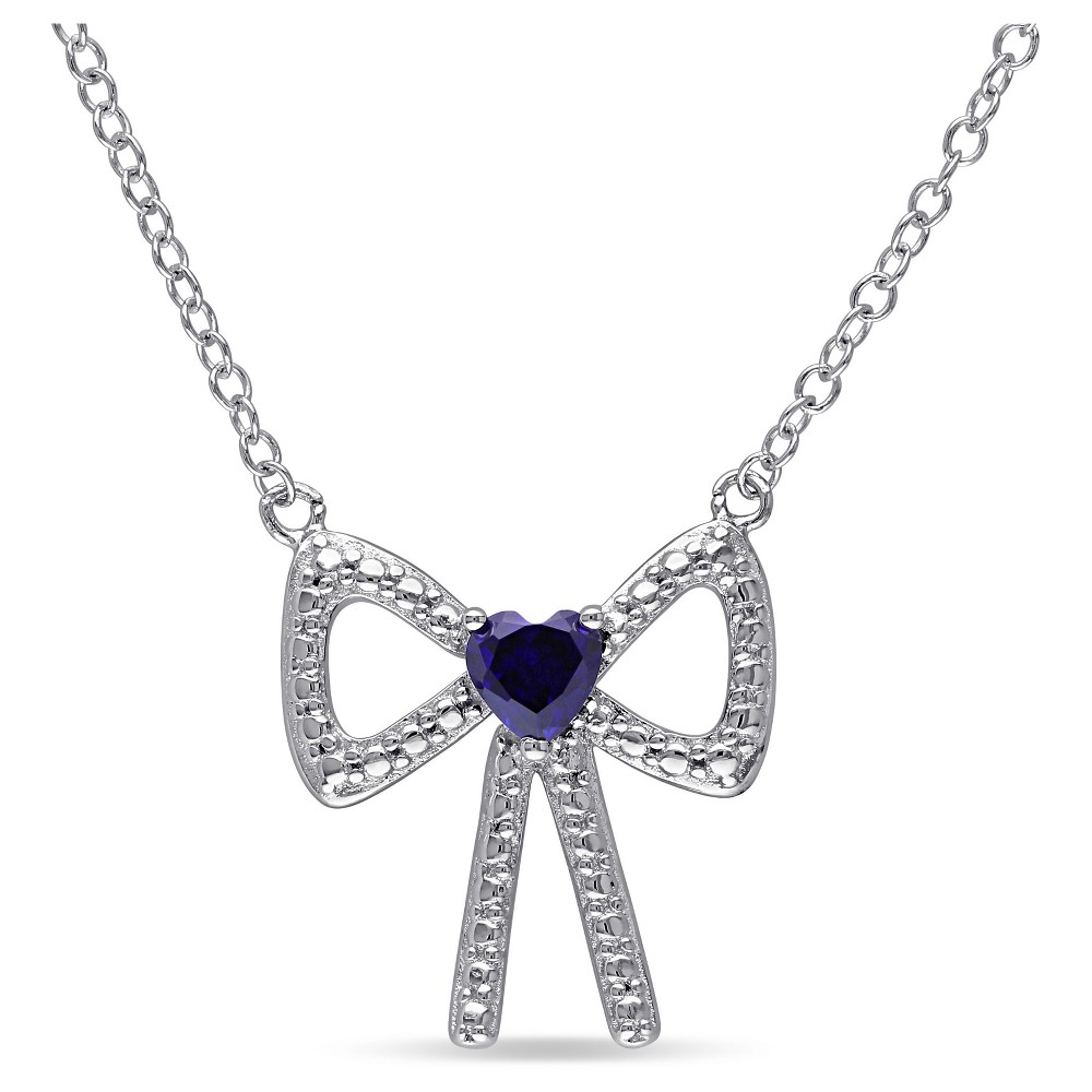 "Image of ""0.3 CT. T.W. Heart Shaped Created Blue Sapphire Bow Pendant Necklace in Sterling Silver - 18 """" - Blue, Women's"""
