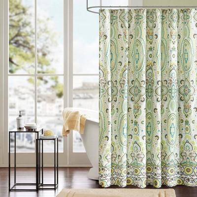 Heather 100% Microfiber Printed Shower Curtain Green