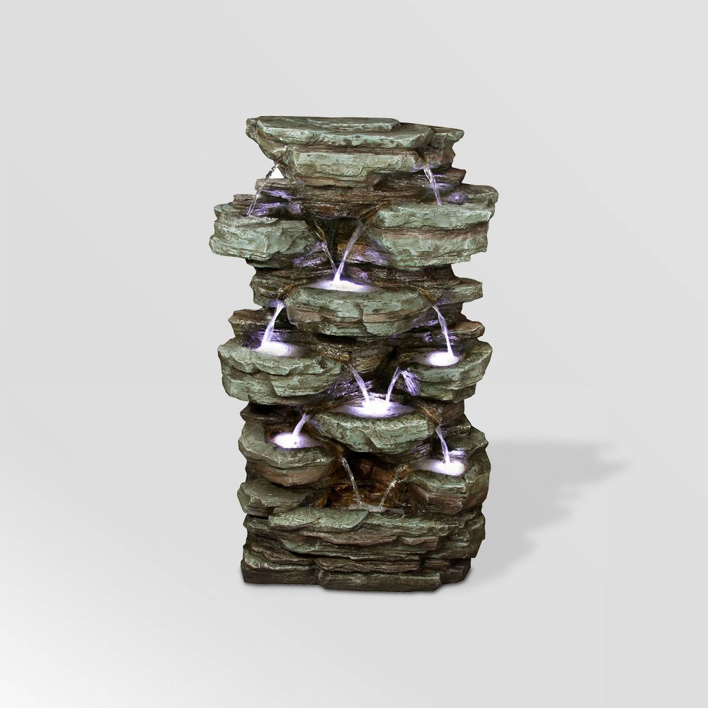 "Image of ""Alpine Corporation 39"""" Tiered Cascading Rock Fountain With LED Lights - Gray"""