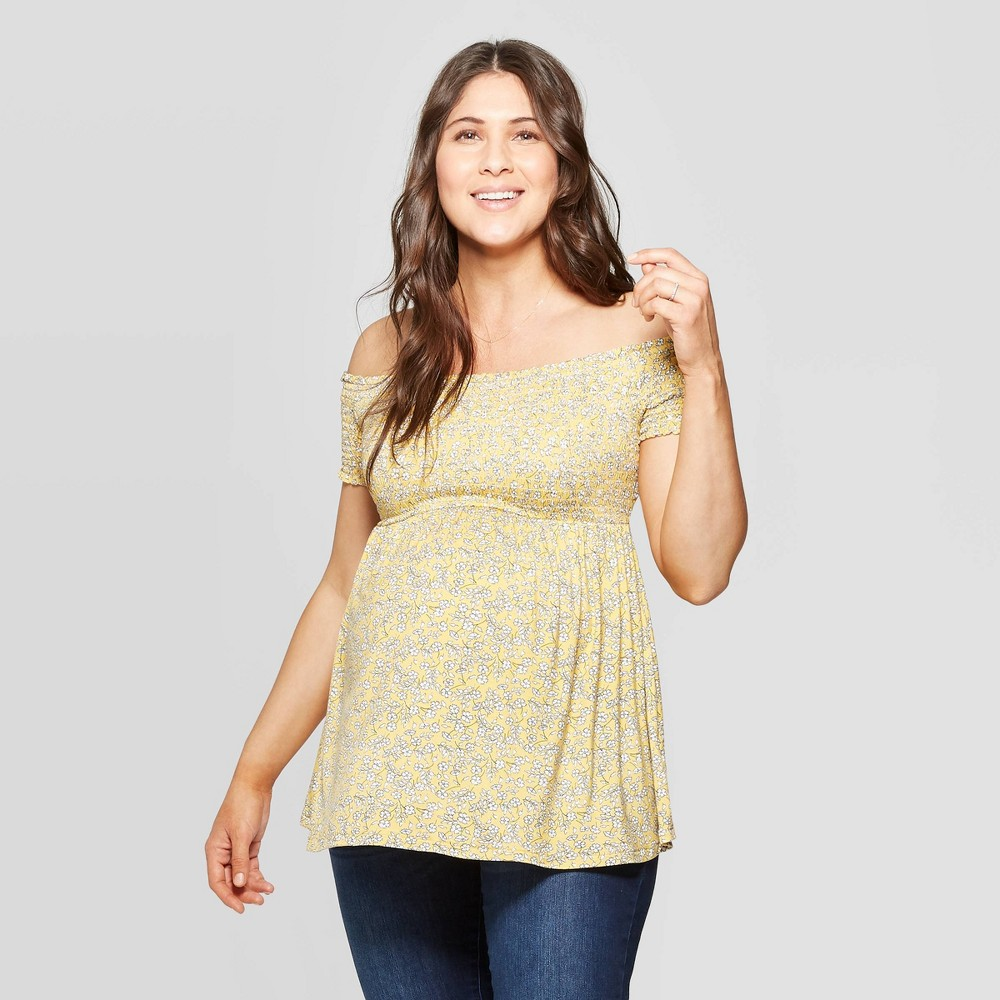 3192e112ac73 Maternity Floral Print Short Sleeve Smocked Off the Shoulder Knit Top Isabel  Maternity by Ingrid Isabel Yellow XS Womens
