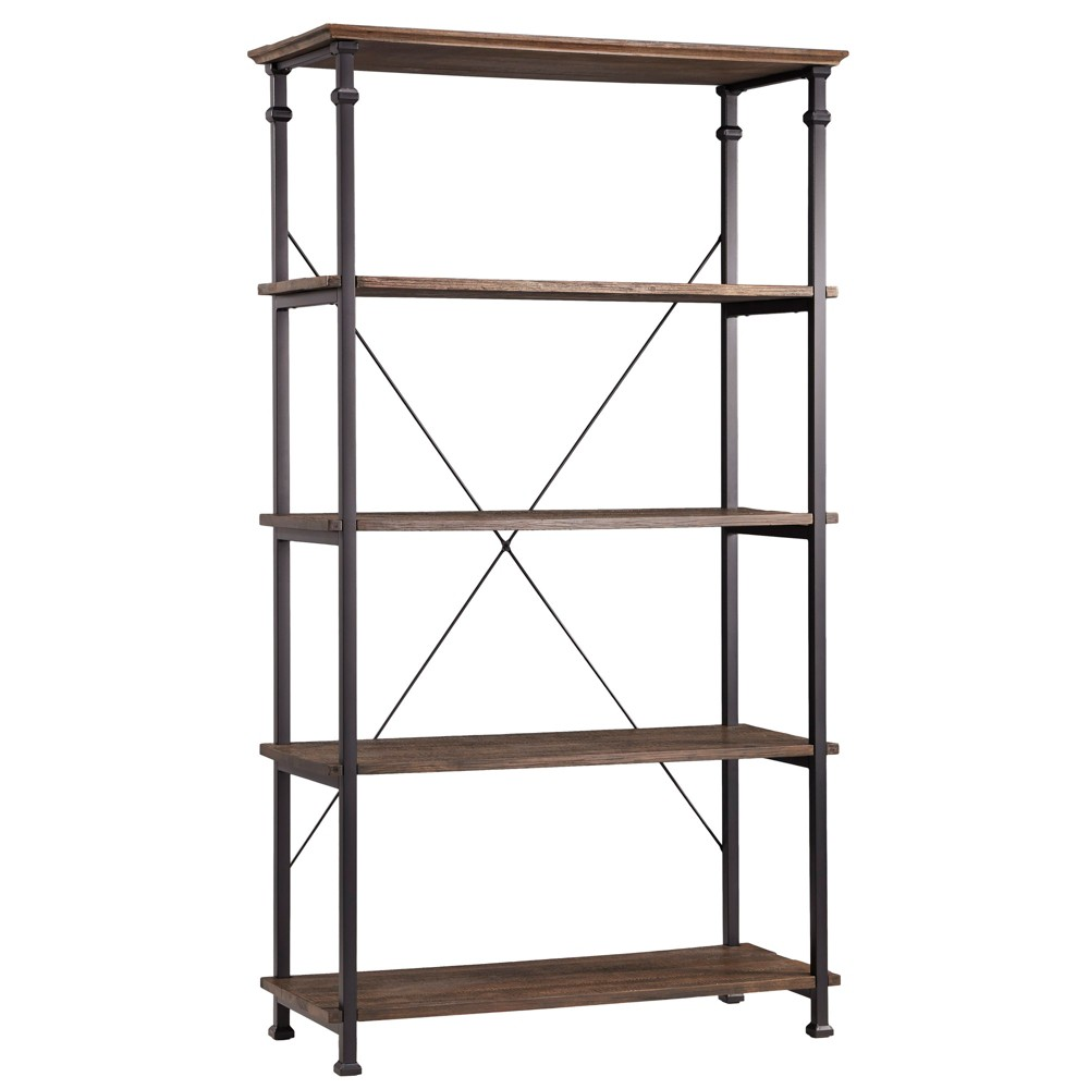 72 - Ronay Rustic Industrial Etagere Bookshelf - Weathered Brown - Inspire Q