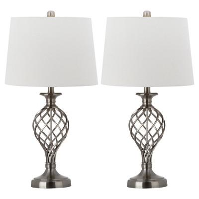 "(Set of 2)26.8"" Lattice Urn Table Lamp Nickel (Includes CFL Light Bulb)- Safavieh"