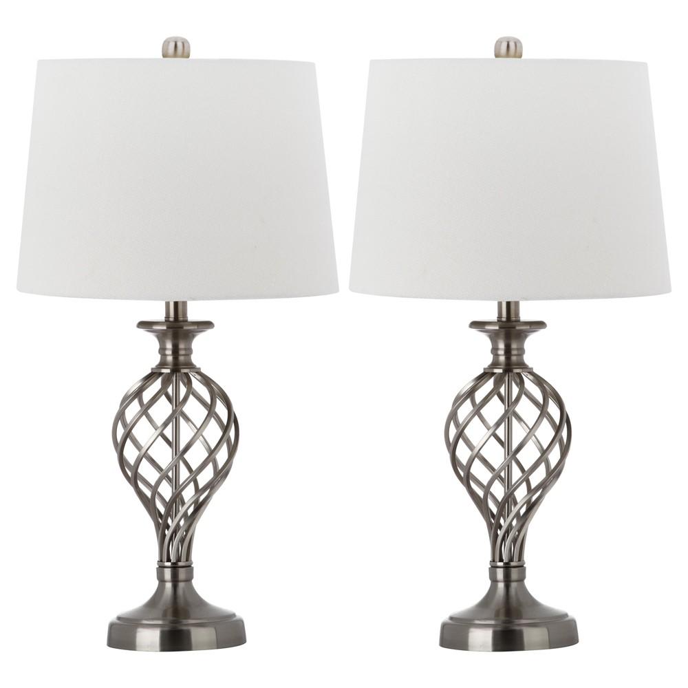 Set Of 2 26 8 34 Lattice Urn Table Lamp Nickel Includes Cfl Light Bulb Safavieh