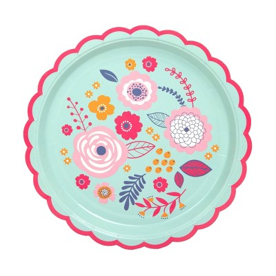 """9"""" 8pk Eco Party Printed Scalloped Paper Plates"""