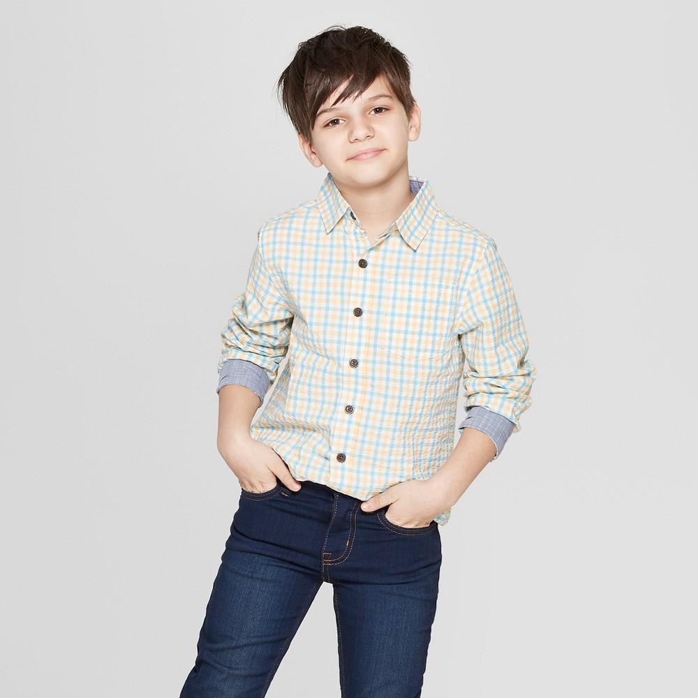 Boys' Seersucker Long Sleeve Button-Down Shirt - Cat & Jack Orange M