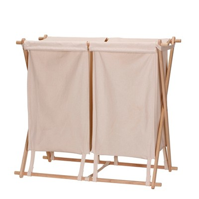Household Essentials Wood X Frame Double Laundry Sorter