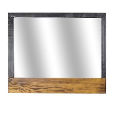 "20"" Rustic Wood and Metal Vanity Wall Mirror Gray Brown - American Art Decor"