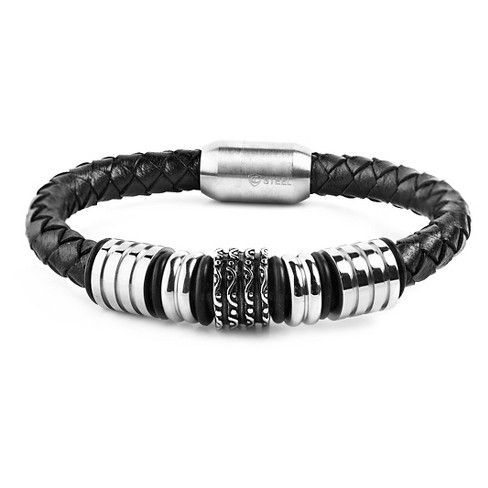 Men's Crucible Stainless Steel Grooved Wavy Beaded Black Leather Bracelet - image 1 of 3