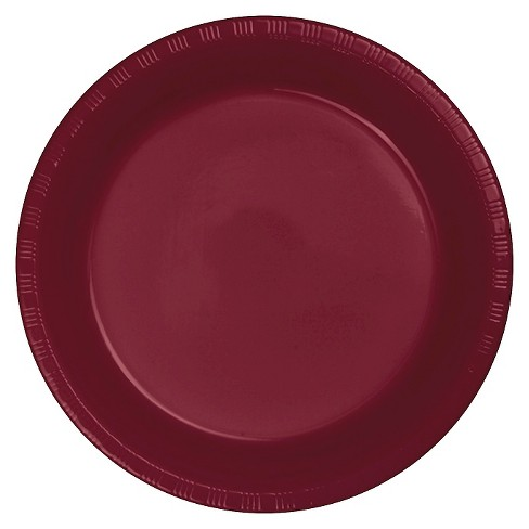 "Burgundy Red Plastic 7"" Dessert Plates - 20ct - image 1 of 1"