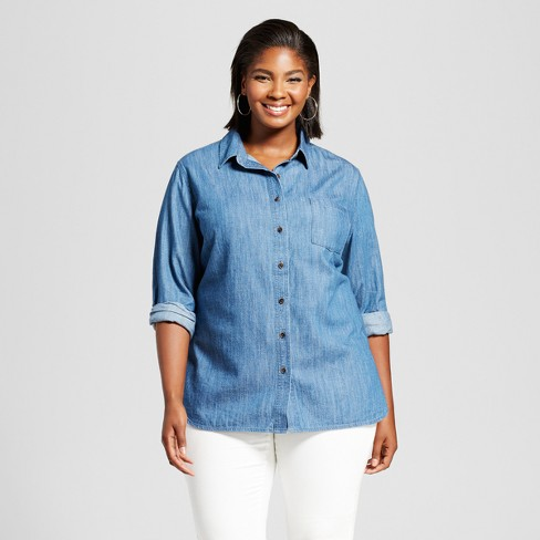 Women's Plus Size Denim Button-Down Shirt - Ava & Viv™ Medium Wash - image 1 of 2