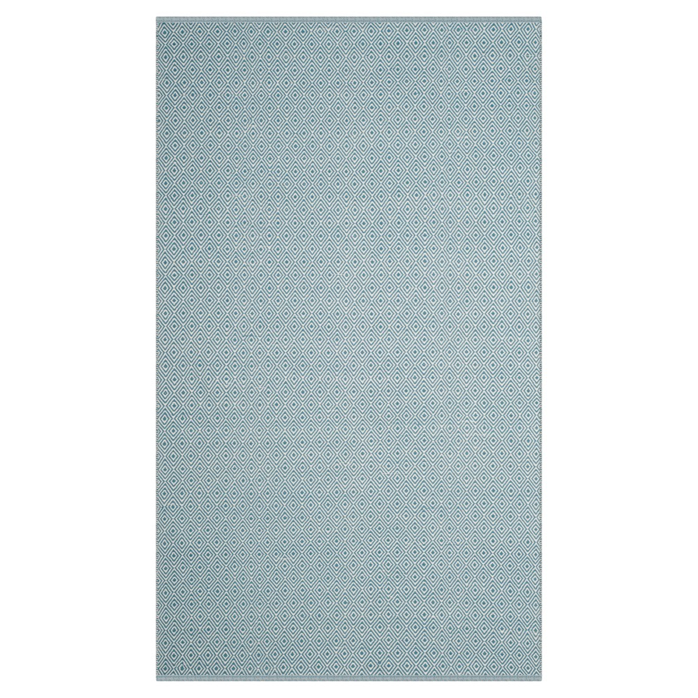 Ivory/Light Blue Stripe Flatweave Woven Area Rug - (5'X8') - Safavieh