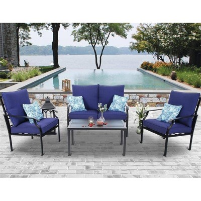 4pc Conversation Set with Loveseat, Chairs & Coffee Table - Navy Blue - Captiva Designs