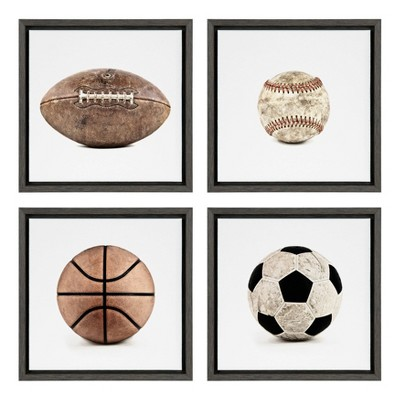 "(Set Of 4) 13"" X 13"" Sylvie Sports Balls On Framed Canvas Wall Art By Shawn St.Peter White   Design Ovation by Design Ovation"