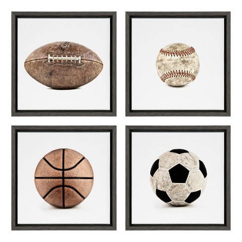 "(Set of 4) 13"" x 13"" Sylvie Sports Balls On Framed Canvas Wall Art By Shawn St.Peter White - DesignOvation - image 1 of 4"