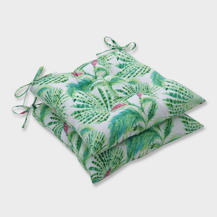 2pk Shake and Stir Tropical Wrought Iron Outdoor Seat Cushions Green - Pillow Perfect - image 1 of 1