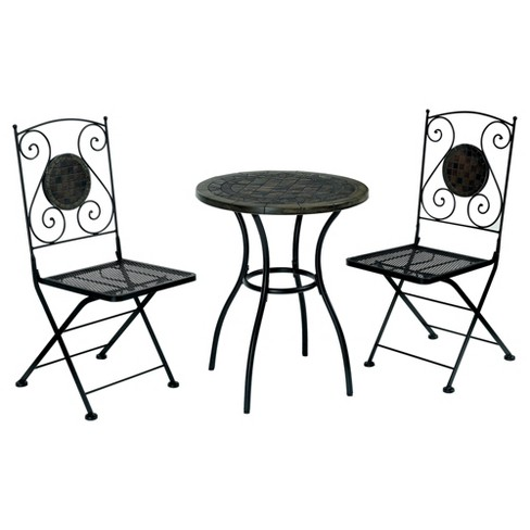 Dannette 3pc Metal Patio Bistro Set - Black - Furniture Of America - image 1 of 3