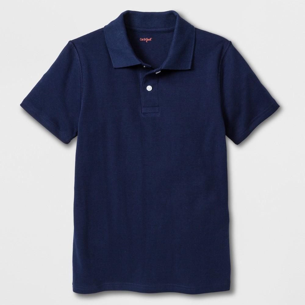 Boys' Adaptive Short Sleeve Polo Shirt - Cat & Jack Navy XL, Blue