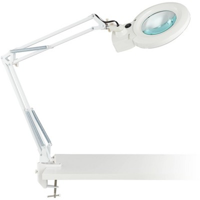 360 Lighting Modern Desk Table Lamp LED Architect Style White Metal Clamp On Adjustable Magnifying for Office Artwork Craft Sewing