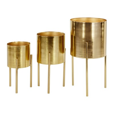 Set of 3 Contemporary Metal Planters in Stands - Olivia & May