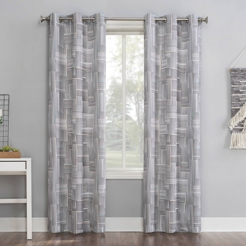 Tatsu Modern Grid Semi-Sheer Grommet Curtain Panel Gray - No.918 - image 1 of 4