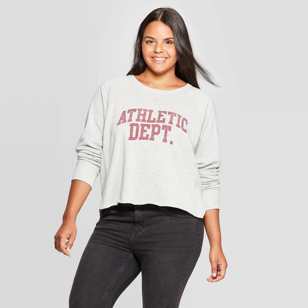 Image of Women's Athletic Dept Plus Size Cropped Graphic Sweatshirt (Juniors') Gray - 2X, Women's, Size: 2XL