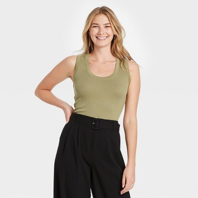 Women's Slim Fit Tank Top - A New Day™ Olive M