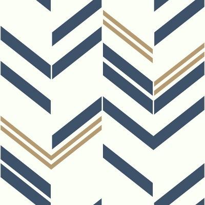 RoomMates Chevron Stripe Peel & Stick Wallpaper Blue