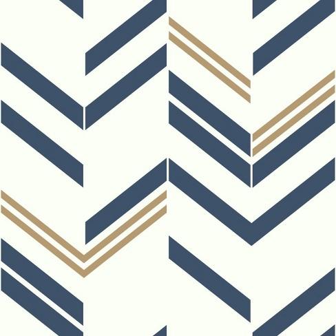 RoomMates Chevron Stripe Peel & Stick Wallpaper Blue - image 1 of 4