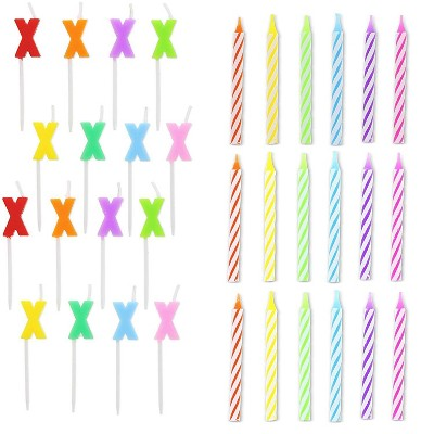 Blue Panda 96-Piece Letter X and Colored Stripes Birthday Cake Candles Set with Holders for Party Decorations