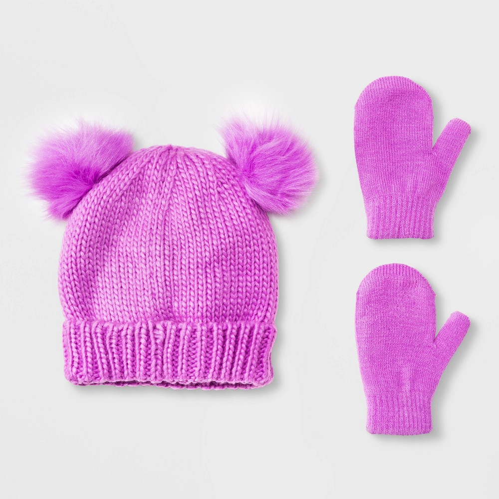 Image of Toddler Girls' Beanie with Poms & Magic Mittens Set - Cat & Jack Purple 2T-5T, Girl's