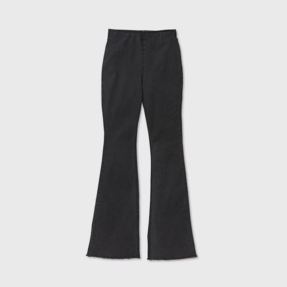 60s – 70s Pants, Jeans, Hippie, Bell Bottoms, Jumpsuits Womens Mid-Rise Flare Jeans - Knox Rose Black XXL $29.99 AT vintagedancer.com