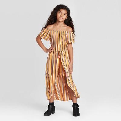 Girls' Off the Shoulder Stripe Walk-Through Dress - art class™ Yellow M