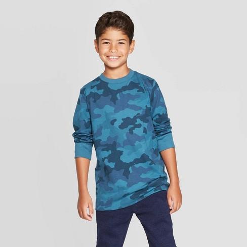 Boys' Long Sleeve T-Shirt - Cat & Jack™ Blue - image 1 of 3