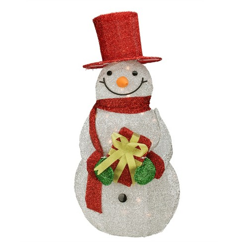 """Northlight 32"""" Lighted Red and Silver Colored Tinsel Snowman with Gift Christmas Outdoor Decoration - image 1 of 2"""