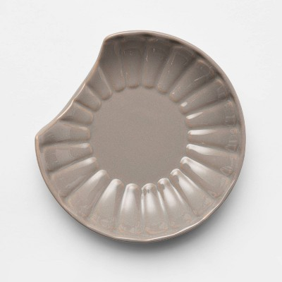 Stoneware Ribbed Spoon Rest Gray - Threshold™