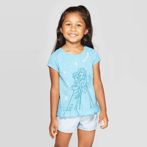 Toddler Girls' Frozen Free To Be Me Short Sleeve T-Shirt - Blue - image 1 of 3