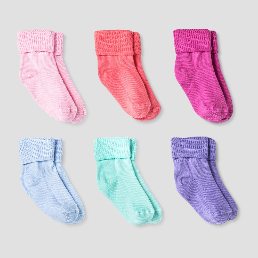 Baby 6pk Turn Cuff Socks Cat 38 Jack 8482 Blue Pink