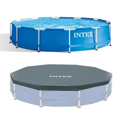 Intex 12 Foot x 30 In. Above Ground Pool & Intex 12 Foot Round Pool Cover
