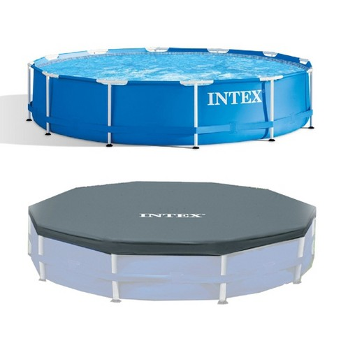 Intex 12 Foot x 30 In. Above Ground Pool & Intex 12 Foot Round Pool Cover - image 1 of 4